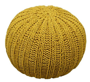 Homzz Knitted Pouf/Pouffes   (Finish Color - Yellow) - Finezz
