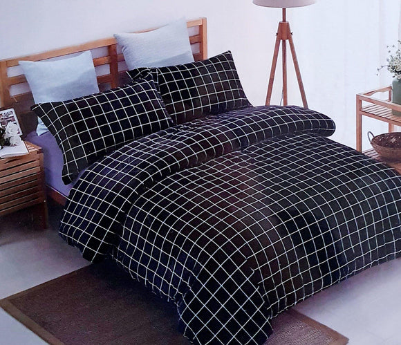 Super Soft & Breathable King Size Flannel Warm Bed Sheets | Black Checks - Finezz