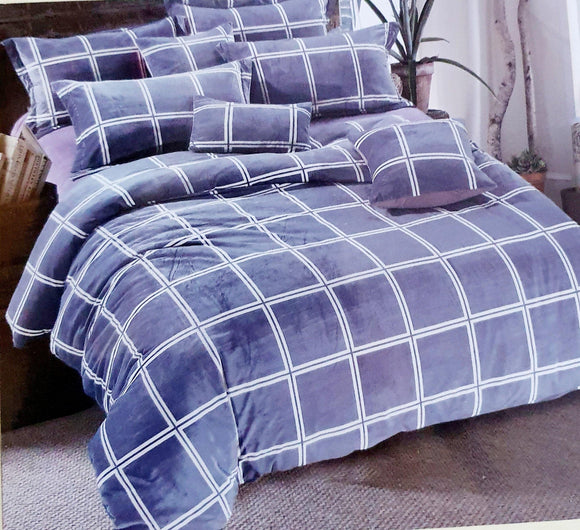 Super Soft & Breathable King Size Flannel Warm Bed Sheets | Blue Checks - Finezz