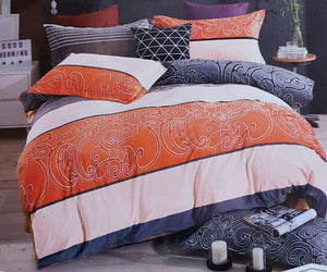 Super Soft & Breathable King Size Flannel Warm Bed Sheets |  Orange Grey - Finezz