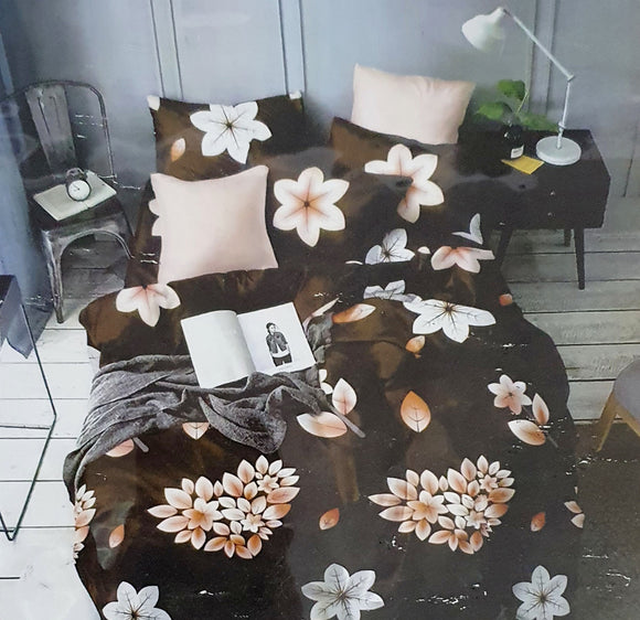 COTTON FITTED BEDSHEET WITH TWO PILLOW COVERS | FITS UP TO 12 INCH MATTRESS | BROWN BIG FLOWER - Finezz