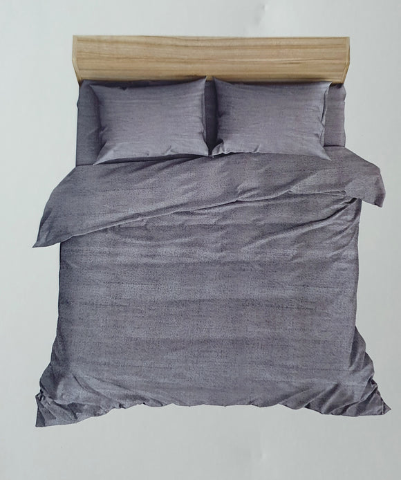 Premium Cotton Satin  Bedhseet 250 TC Super King With 2 Pillow covers (275 cms X 275 cms) Grey - Finezz