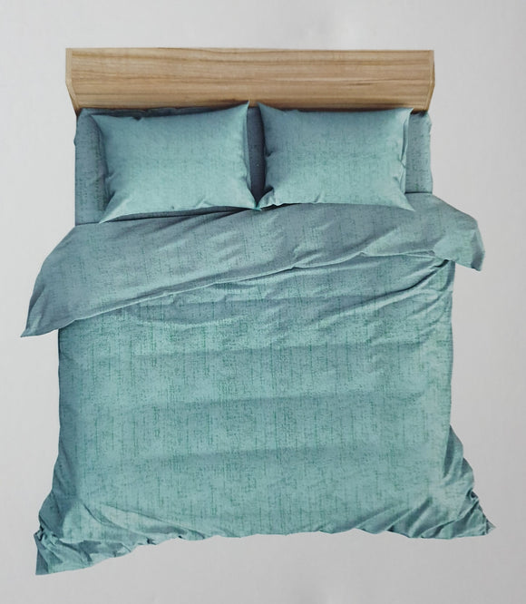 Premium Cotton Satin  Bedhseet 250 TC Super King With 2 Pillow covers (275 cms X 275 cms) Green - Finezz