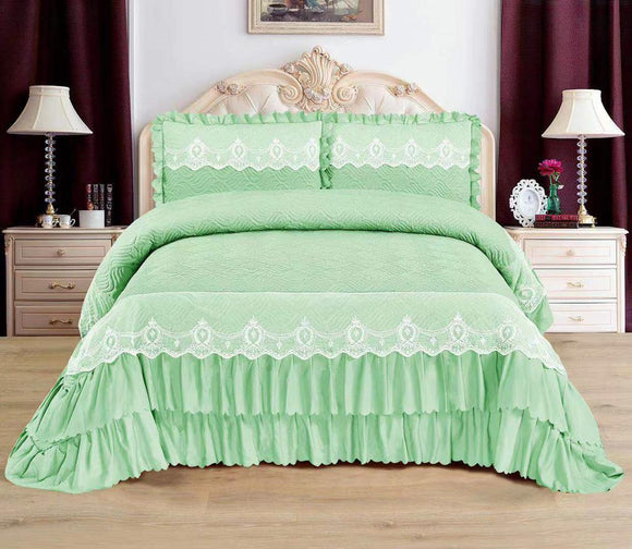 Luxurious Bedcover With 12-Inch Frills & Lace ( 3 Layers) - Finezz
