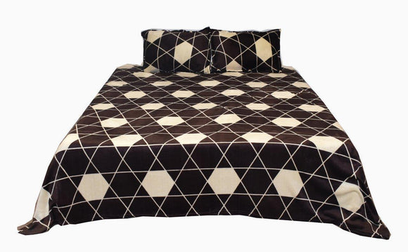 Homzz Flannel Double Warm Bedsheet with 2 Pillow Covers 240 cms. X 220 cms. | Brown & White - Finezz