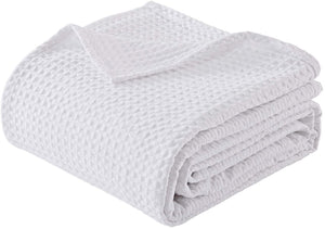 "Finezz All Season Blanket 100% Cotton Waffle Weave Summer Blanket Single Size 90""x60"" for Home Decorations-Soft Comfortable Breathable 