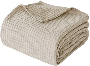 "Finezz All Season Blanket 100% Cotton Waffle Weave Summer Blanket Queen Size 90""x90"" for Home Decorations-Soft Comfortable Breathable 