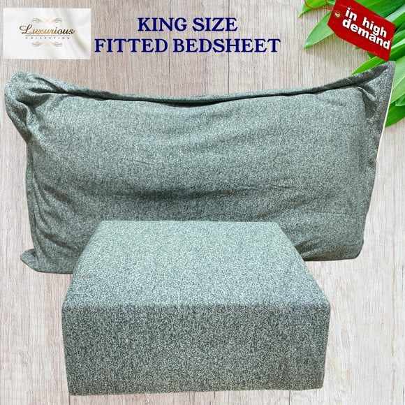 LUXURIOUS COMFORT KING FITTED DOUBLE BEDSHEET WITH 2 PILLOW COVERS - SPECIAL ITALIAN CASHMERE - Finezz