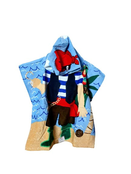 Poncho Style Hooded Bath & Beach Towel with Colorful Double Sided Design |Pirates - Finezz