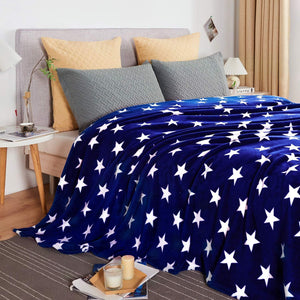 Premium AC Comforter Flannel By Homzz | Double Bed | Star Collection | Blue - Finezz