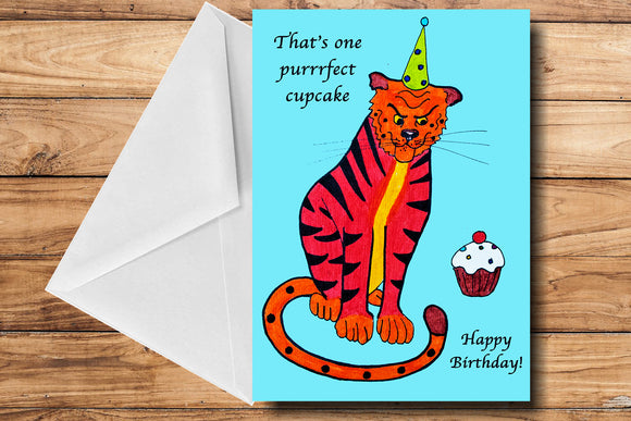 Purrrfect Cupcake Greeting Card by SUEX