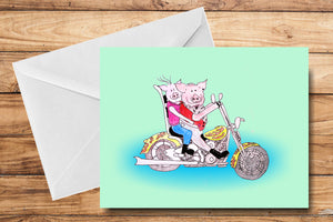 Biker Couple Greeting Card by SUEX