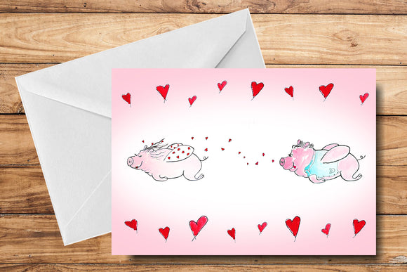 Flying Piggies Anniversary Greeting Card by SUEX