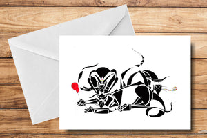 Spider Cats Greeting Card by SUEX