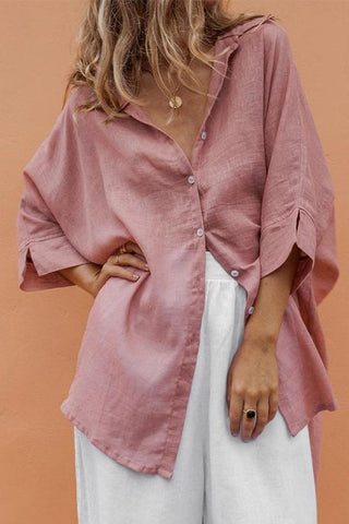 Linen High Low Batwing Solid Blouse