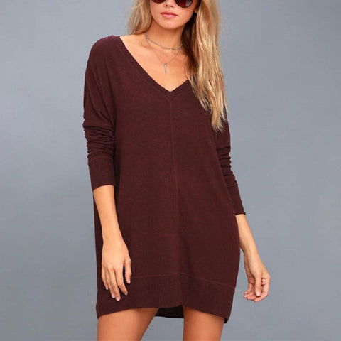 Casual Solid V Neck Mini Dress