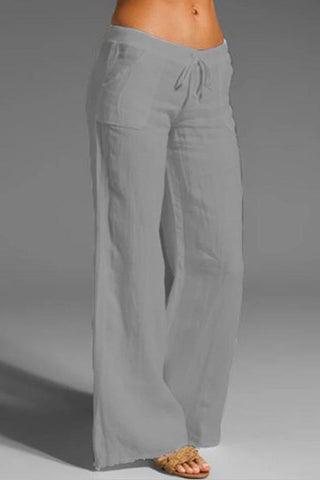 Casual Solid Side Pockets Slim Pants