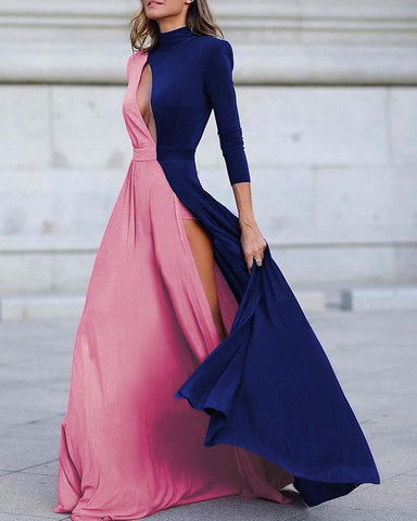 Colorblock Long Sleeve High Slit Maxi Dress