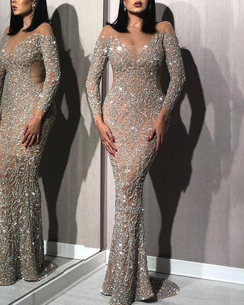 Fashion Sexy Deep V Shiny Slim Tail Evening Gown
