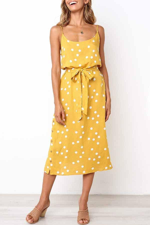 Sleeveless Polka Dot Spaghetti Strap Casual Dress