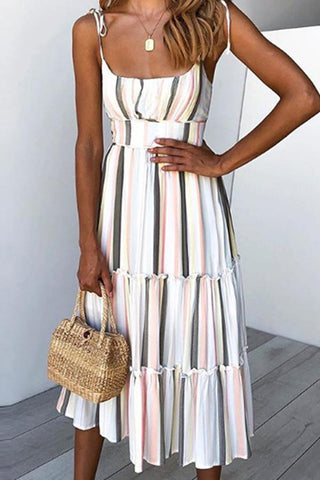 Sleeveless Striped Spaghetti Strap Casual Dress