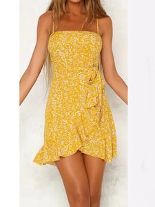 FLORAL FLOUNCE  SPAGHETTI STRAPS MINI DRESS