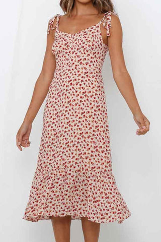 Sleeveless Floral Print Flounce Spaghetti Strap Dress