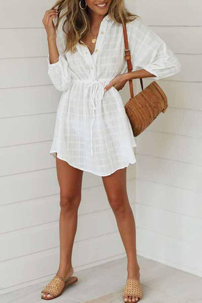 3/4 Length Sleeve Gingham Shirt Collar Casual Wear Dress