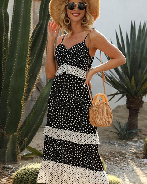 Bohemian wavelet dot suspender maxi dress