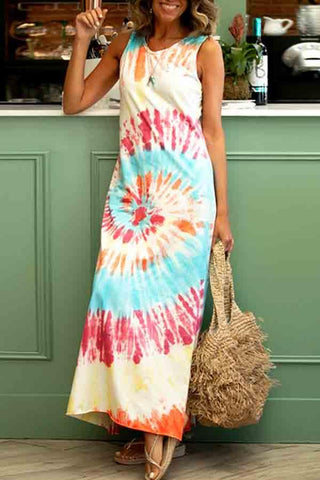 Sleeveless Tie Dye Round Neck Casual Wear Dress