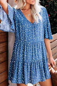 Flounce Sleeve Polka Dot V Neck Pleated Dress