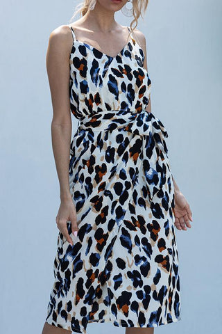 Sleeveless Leopard Print Spaghetti Strap Casual Wear Dress