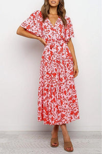 Casual Printed Red Maxi Dress