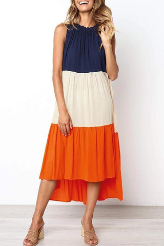 Color-lump Patchwork Sleeveless Midi Dress