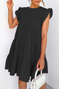 Puff Sleeve Solid Color Round Collar Pleated Casual Dress