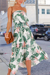 Sleeveless Natural Print Bandeau Pleated Dress