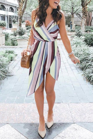 Sleeveless Striped Spaghetti Strap Casual Wear Dress