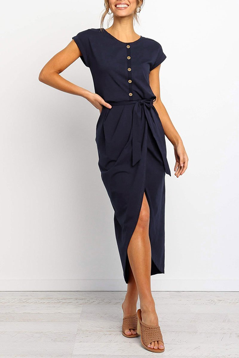 O Neck Split Dark Blue Midi Dress (With Elastic)