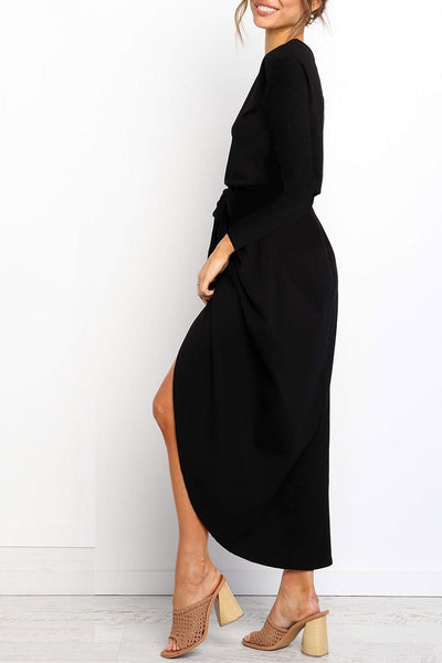 O Neck Asymmetrical Mid Calf Dress