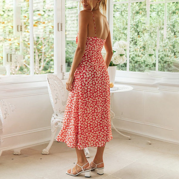 Sexy Sling Backless Bow Floral Midi Dress