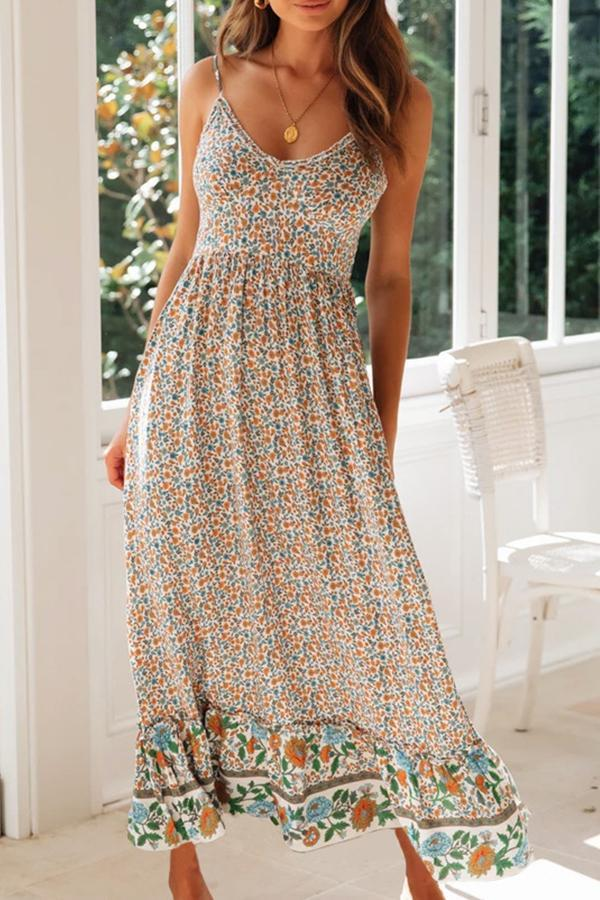 Sleeveless Flower Print Spaghetti Strap Casual Wear Dress