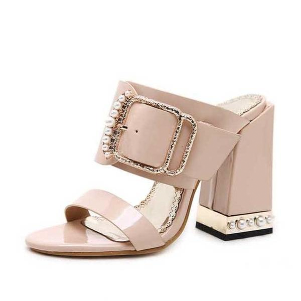 Women Crystal Buckle Square Heel Sandals Mules Slippers Slides Shoes