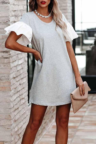 Flounce Sleeve Solid Color Round Collar Casual Wear Dress