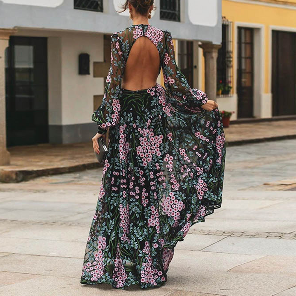 Sexy Backless Floral Print Dress
