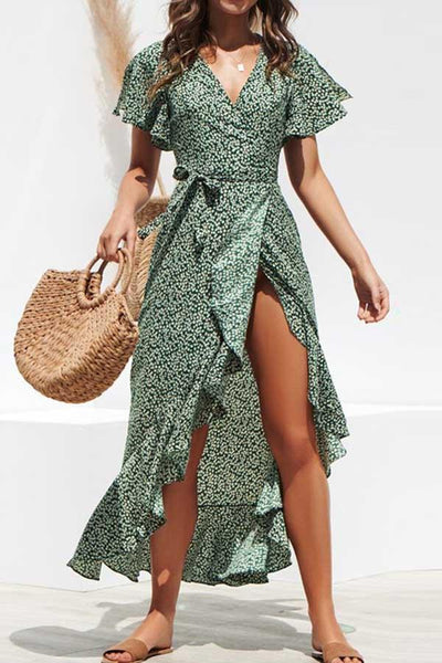 Flounce Sleeve Polka Dot V Neck Irregular Dress