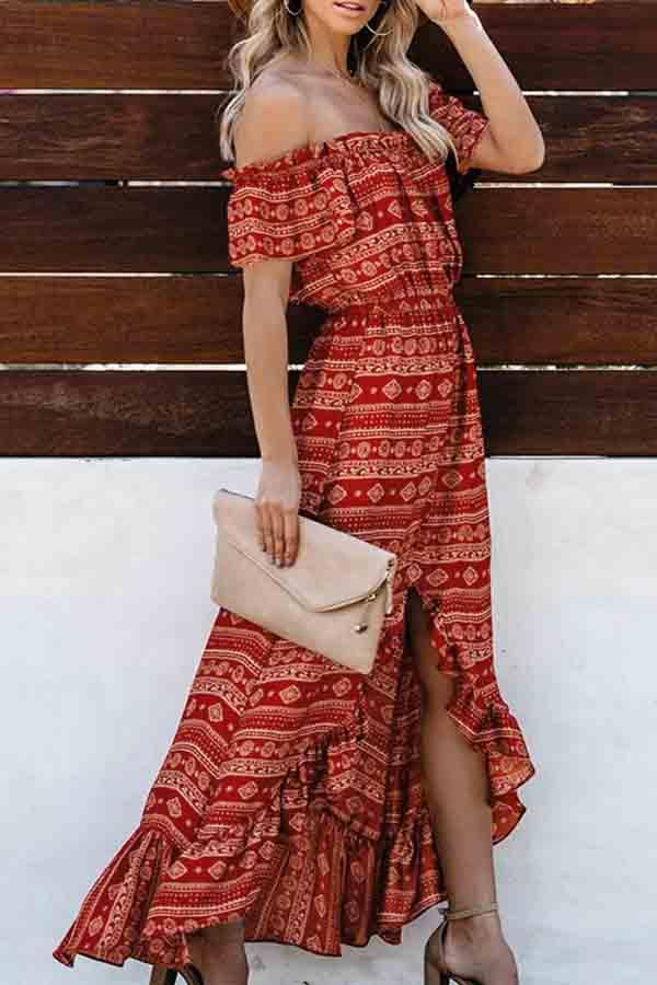Short Sleeve Graphic Print Off Shoulder Irregular Dress