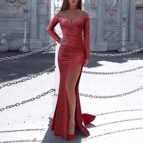 Sexy Fishtail High Slit One-shouldered Dress