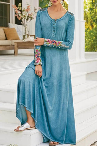 Casual Embroidery Buttons Maxi Dress