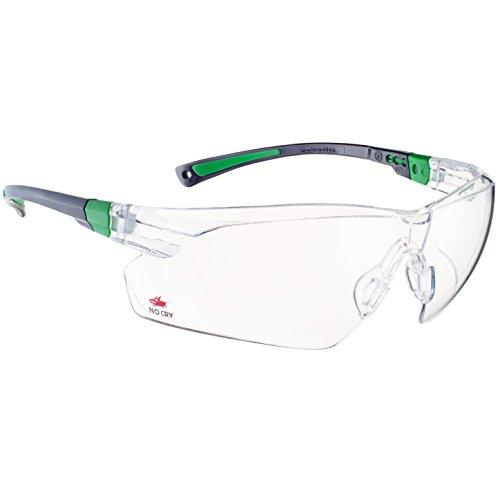 NoCry Safety Glasses with Clear Anti Fog Scratch Resistant Wrap-Around Lenses and No-Slip Grips, UV Protection. Adjustable, Black & Green Frames