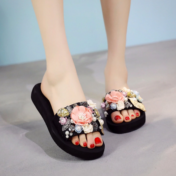 Women Crystal Auger Pearl Flower Platform Sandals Beach Slippers Shoes